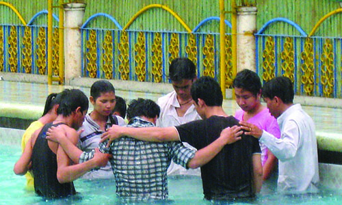 Six Methodist Hostelites in  Phnom Penh receive baptism