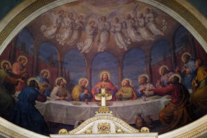 ZAGREB, CROATIA - SEPTEMBER 14: Last supper, fresco in the Basilica of the Sacred Heart of Jesus in Zagreb, Croatia on September 14, 2015.