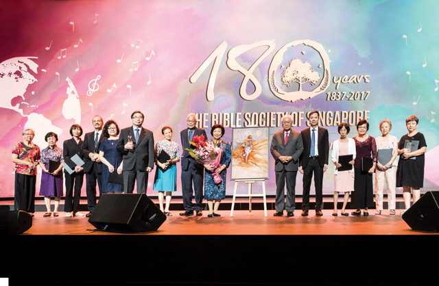His Excellency President Tony Tan Keng Yam and First Lady Mrs Mary Tan, The Bible Society of Singapore's President Dr Lee Soo Ann and General Secretary  Rev Ezekiel Tan (centre), with the recipients of the Inaugural Sower Awards.